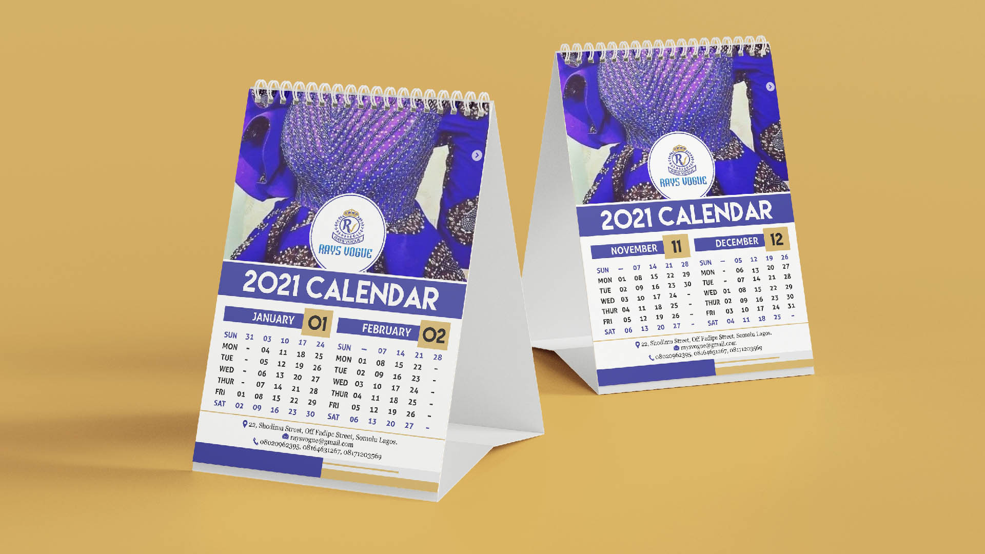 Portrait Table Calendar 2021 Printing and Design in Lagos Nigeria