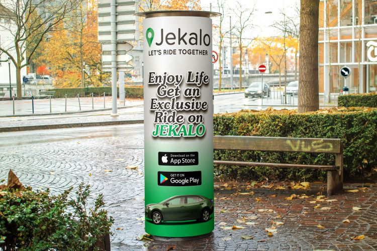 Jekalo Column Banner Advertisement Poster offer a ride within lagos nigeria